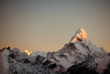 Ama Dablam peak at sunset.