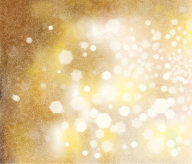Vector golden sparkling background with lights and snowflakes pa