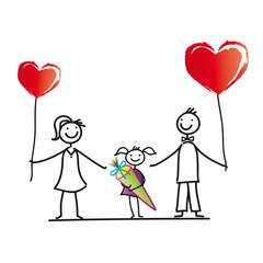 Eltern mit Tochter - Schulanfang