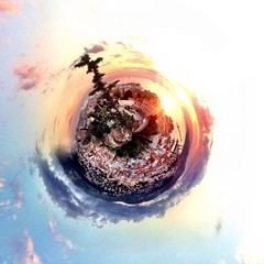 Abstract globe with a city at sunset with circular shape!