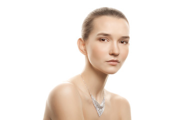 portrait of the young woman with silver jewelry