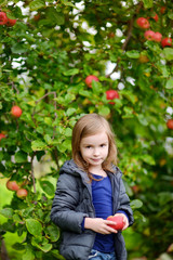 Little girl with an apple by on autumn day