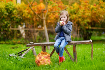 Little girl sitting on a bench on autumn day