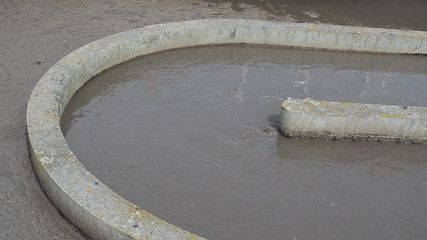 sewage water sludge settling mechanism in water treatment plant