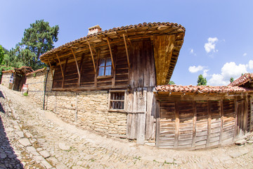 Details of wooden architecture in Bulgarian village
