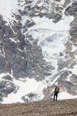 Hikers in Caucasus mountains of Zemo (upper) Svaneti, Georgia