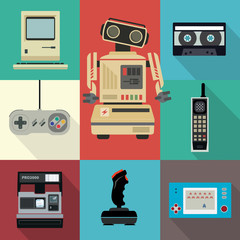 80's and 90's style flat vector technology