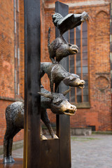 An old city. Riga, Latvia. Statue of the Bremen Town Musicians.