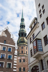 An old city. Riga, Latvia. Saint Peter's church.