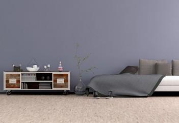 Wohnzimmer mit Sofa und Sideboard