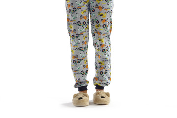 Boy dressed in pyjama isolated on white