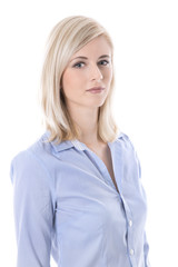 Portrait of a blond isolated young business woman in blue blouse