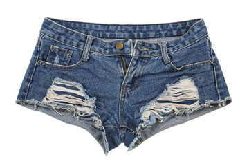 Old worn jean shorts