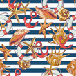 Summer Seamless Pattern with Sea Shells, Anchor - 66782018