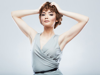 Fashion model with short hair .