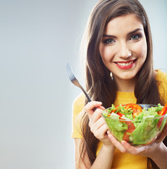 Woman close up smiling face. Diet food.