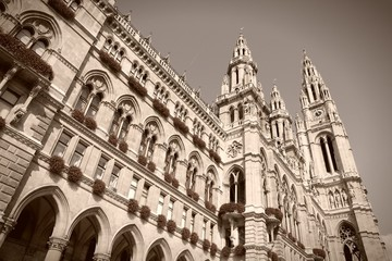 Vienna city hall - sepia image