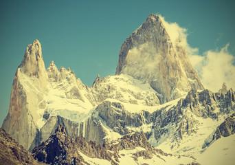 Fitz Roy Mountain Range, Argentina, vintage retro style.
