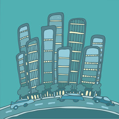 big city, skyscrapers cars cartoon vector Illustration