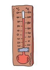 doodle retro thermometer