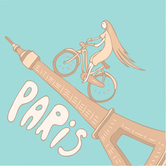 romance in Paris background vector Illustration, hand drawing