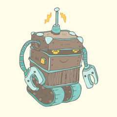 Robots vector, robot toy vector Illustration, hand drawing