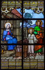 Mechelen - holy family on windowpane in st. Katharine church