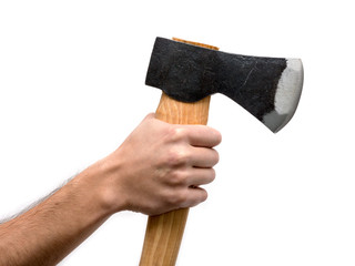Axe with wooden handle isolated on a white