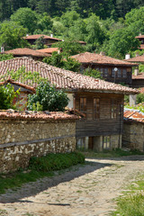 Stone, roof tiles and wood