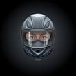 Face in a black helmet