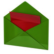 Green open envelope with red paper