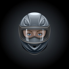 Face in a black helmet