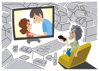 汚れた部屋で恋愛ドラマを観る男性