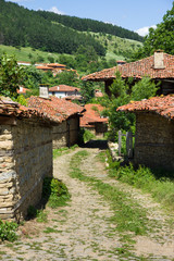 Winding rural street in the Balkans