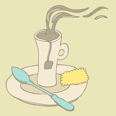 Cup (mug) of hot drink, vector illustration hand drawn