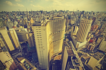 Skyline of Sao Paulo downtown, Brazil, vintage retro style.