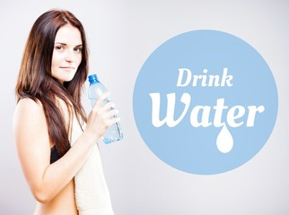 Drink water, woman with bottle and towel