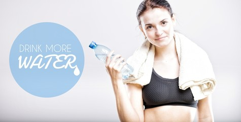 Drink more water, woman with bottle
