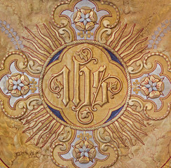 Mechelen - Detail of old catholic vestment - Monogram