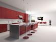 Moderne luxuriöse Küche mit Theke und Barhockern