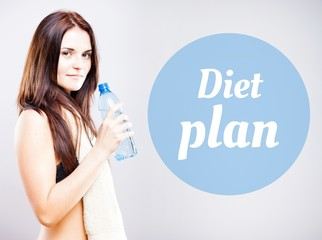 Diet plan, beautiful woman with bottle