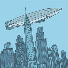 vector blue city with airship, vector Illustration, hand drawing
