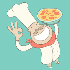 Cook Pizza vector Illustration, hand drawing