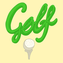 golfing (golf flag) vector Illustration, hand drawing