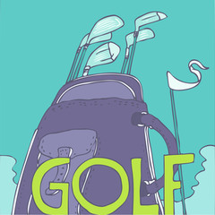 golf clubs vector Illustration, hand drawing