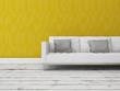Modern sofa steht vor greller gelber Wand