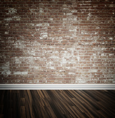 Brick wall and parquet floor background
