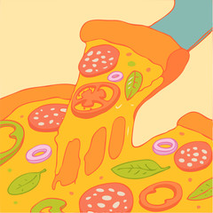 Slice of Pizza vector Illustration, hand drawing