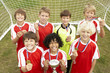 Winning junior soccer team portrait