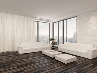 Modern minimalist sitting room interior